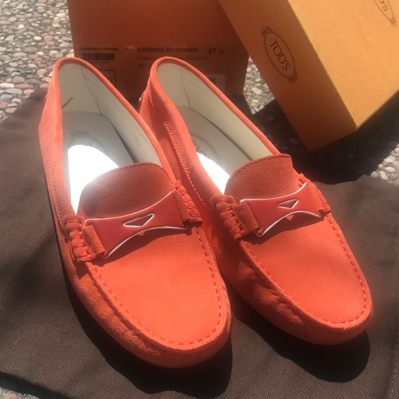 d96ead3a9a9 Tod s 37.5 Gommino Driving Shoes in Suede Orange. M 5ac1497e5521bef6403e7c19